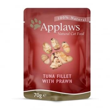 APPLAWS, File Ton și Creveți, plic hrană umedă pisici, (în supă), 70g