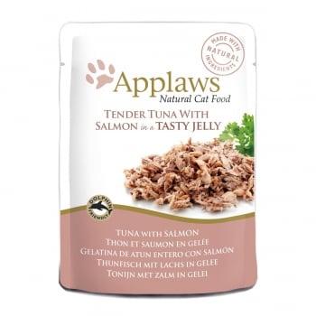 APPLAWS, File Ton și Somon, plic hrană umedă pisici, (în aspic), 70g