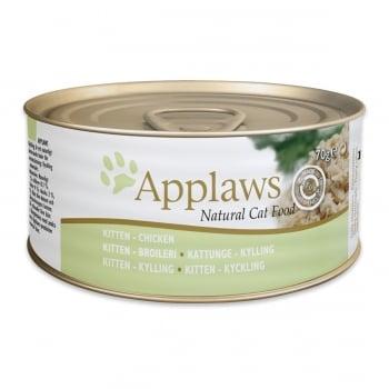 APPLAWS Junior, Pui, conservă hrană umedă pisici Junior, (în supă), 70g