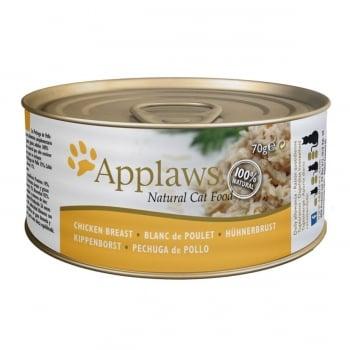 APPLAWS, Piept Pui, conservă hrană umedă pisici, (în supă), 156g