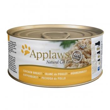 APPLAWS, Piept Pui, pachet economic conservă hrană umedă pisici, (în supă), 70g x 6