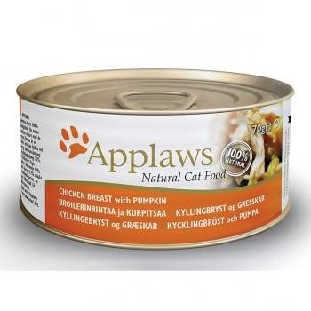 APPLAWS, Piept Pui și Dovlecel, conservă hrană umedă pisici, (în supă), 156g