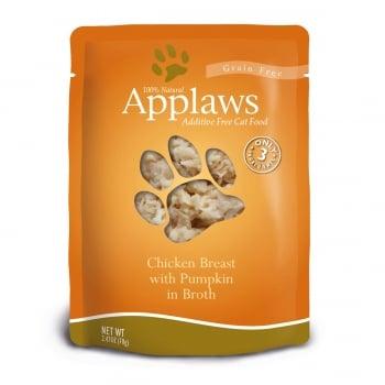 APPLAWS, Piept Pui și Dovlecel, plic hrană umedă pisici, (în supă), 70g