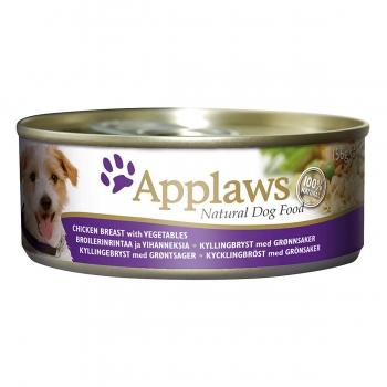 APPLAWS, Piept Pui și Legume, conservă hrană umedă câini, (în supă), 156g