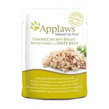 APPLAWS, Piept Pui și Miel, plic hrană umedă pisici, (în aspic), 70g imagine