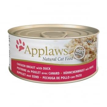 APPLAWS, Piept Pui și Rață, conservă hrană umedă pisici, (în supă), 70g