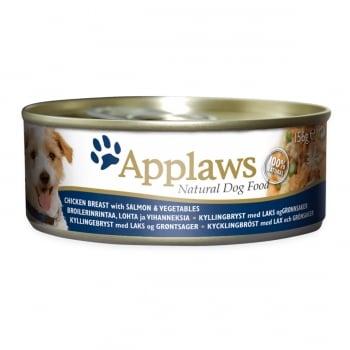 APPLAWS, Pui, Somon și Legume, conservă hrană umedă câini, (în supă), 156g