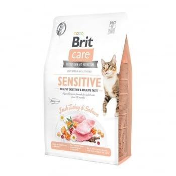 BRIT Care Sensitive Healthy Digestion & Delicate Taste, Curcan și Somon, hrană uscată fără cereale pisici, sensibilități digestive, 7kg