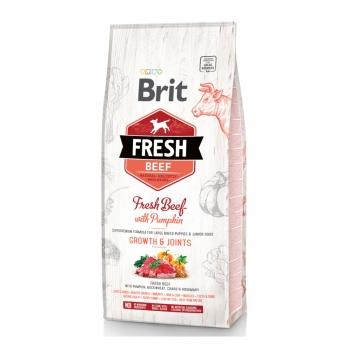 BRIT Fresh Bones & Joints Junior L-XL, Vită cu Dovleac, pachet economic hrană uscată conținut redus cereale câini junior, 12kg x 2