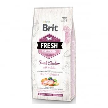 BRIT Fresh Healthy Growth Puppy & Junior S-XL, Pui cu Cartof, hrană uscată conținut redus cereale câini junior, 12kg