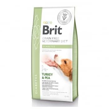 BRIT GF Veterinary Diet Diabetes, Curcan cu Mazăre, dietă veterinară câini, hrană uscată fără cereale, afecțiuni metabolice (diabet), 12kg