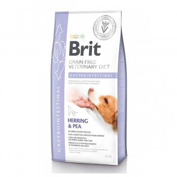 BRIT GF Veterinary Diet Gastrointestinal, Hering cu Mazăre, dietă veterinară câini, hrană uscată fără cereale, afecțiuni digestive, 12kg