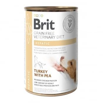 BRIT GF Veterinary Diet Hepatic, Curcan cu Mazăre, dietă veterinară câini, conservă hrană umedă fără cereale, afecțiuni hepatice, 400g