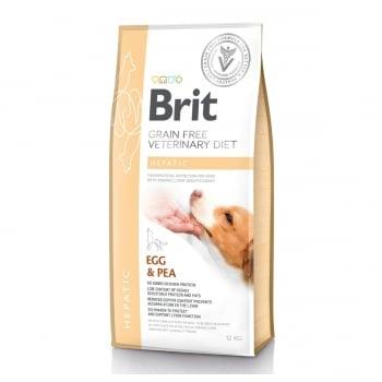 BRIT GF Veterinary Diet Hepatic, Ou și Mazăre, dietă veterinară câini, hrană uscată fără cereale, afecțiuni hepatice, 12kg