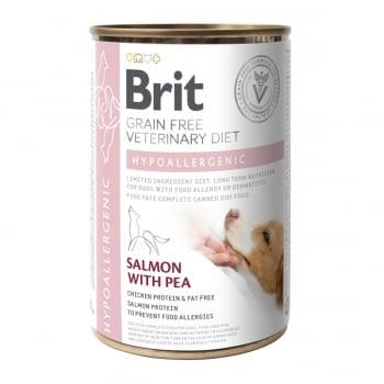 BRIT GF Veterinary Diet Hypoallergenic, Somon cu Mazăre, dietă veterinară câini, conservă hrană umedă fără cereale, afecțiuni digestive și dermatologice, 400g