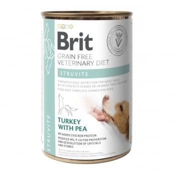BRIT GF Veterinary Diet Struvite, Curcan cu Mazăre, dietă veterinară câini, conservă hrană umedă fără cereale, afecțiuni urinare (struviți), 400g