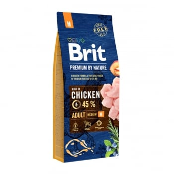 BRIT Premium By Nature Adult Medium Breed, M, Pui, pachet economic hrană uscată câini, 15kg x 2