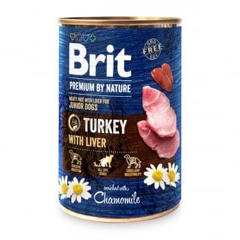 BRIT Premium By Nature Junior, Curcan și Ficat, conservă hrană umedă fără cereale câini, (pate), 400g
