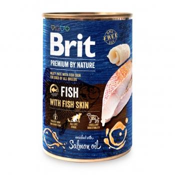 BRIT Premium By Nature, Pește și Piele, pachet economic conservă hrană umedă fără cereale câini, (pate), 400g x 6