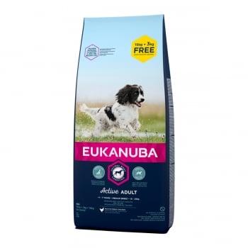 EUKANUBA Basic Active Adult M, Pui, hrană uscată câini, 15kg + 3kg GRATUIT
