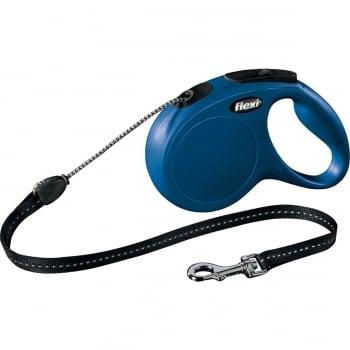 FLEXI Classic M, lesă retractabilă câini, 20kg, șnur, 5m, albastru
