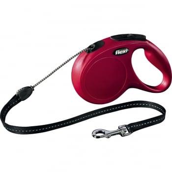 FLEXI Classic M, lesă retractabilă câini, 20kg, șnur, 5m, roșu