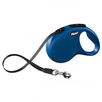 FLEXI Classic S Cord, lesă retractabilă câini, 15kg, bandă, 5m, albastru