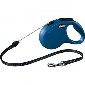 FLEXI Classic S, lesă retractabilă câini, 12kg, șnur, 5m, albastru