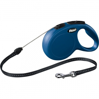 FLEXI Classic S, lesă retractabilă câini, 12kg, șnur, 8m, albastru