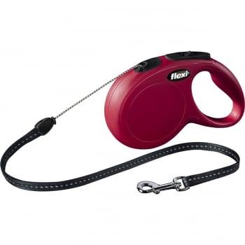 FLEXI Classic S, lesă retractabilă câini, 12kg, șnur, 8m, roșu