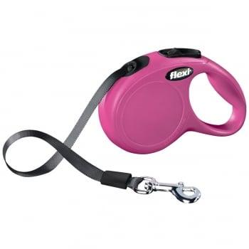 FLEXI Classic XS Cord, lesă retractabilă câini, 12kg, bandă, 3m, roz