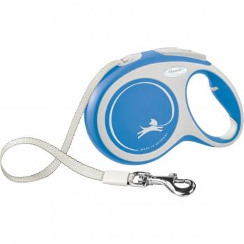FLEXI New Comfort L, lesă retractabilă câini, 50kg, bandă, 8m, albastru