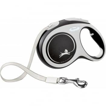 FLEXI New Comfort L, lesă retractabilă câini, 60kg, bandă, 5m, negru