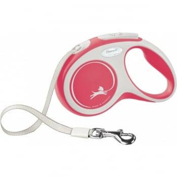 FLEXI New Comfort S, lesă retractabilă câini, 15kg, bandă, 5m, roșu