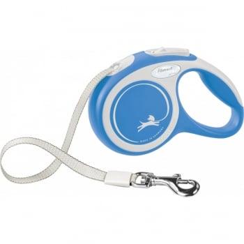 FLEXI New Comfort XS, lesă retractabilă câini, 12kg, bandă, 3m, albastru