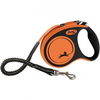 FLEXI Xtreme M, lesă retractabilă câini, 25kg, bandă, 5m, portocaliu cu negru