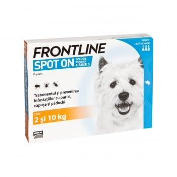 FRONTLINE Spot-On, soluție antiparazitară, câini 2-10kg, 3 pipete