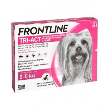 FRONTLINE Tri-Act, spot-on, soluție antiparazitară, câini 2-5kg, 3 pipete