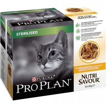 Hrana Umeda Pisici Pro Plan Sterilised Pui, 10x85g imagine