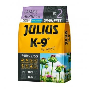 JULIUS-K9 Utility Dog Puppy & Junior, Miel cu Ierburi, hran? uscat? f?r? cereale câini junior, 10kg