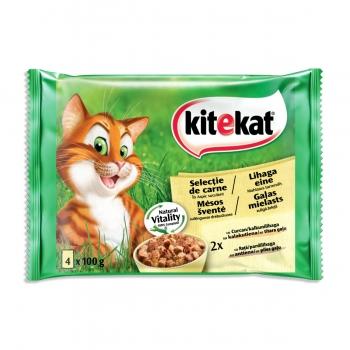 KITEKAT Selecții Pasăre, Rață și Curcan, pachet mixt, plic hrană umedă pisici, (în aspic), 100g x 4