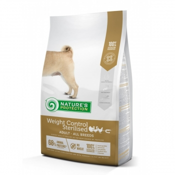 NATURES PROTECTION Adult Weight Control Sterilised, Pasăre cu Krill, hrană uscată câini, controlul greutății, 12kg