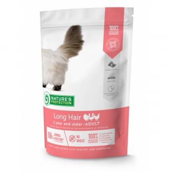 NATURES PROTECTION Long Hair, Pui și Vită, hrană umedă fără cereale pisici cu păr lung, 100g