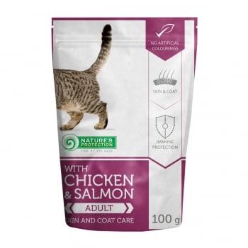 NATURES PROTECTION Skin and Coat, Pui și Somon, hrană umedă fără cereale pisici, sănătatea pielii și blănii, 100g
