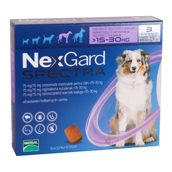NEXGARD Spectra, comprimate masticabile antiparazitare, câini 15-30kg, 3 comprimate