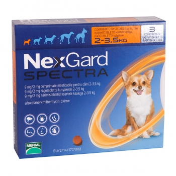 NEXGARD Spectra, comprimate masticabile antiparazitare, câini 2-3.5kg, 3 comprimate