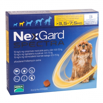 NEXGARD Spectra, comprimate masticabile antiparazitare, câini 3.5-7kg, 3 comprimate