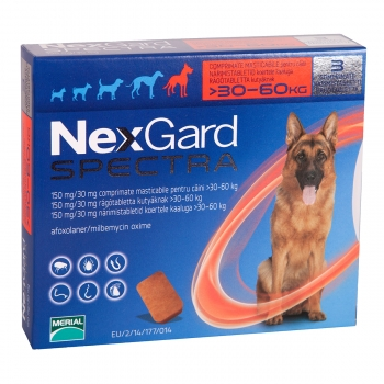 NEXGARD Spectra, comprimate masticabile antiparazitare, câini 30-60kg, 3 comprimate
