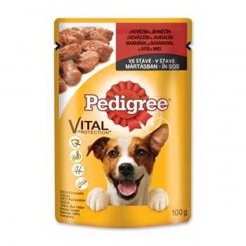 PEDIGREE Vital Protection Adult, Vită și Miel, pachet economic plic hrană umedă câini, (în sos), 100g x 30