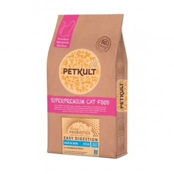 PETKULT Easy Digestion Hair&Skin 37/15, Somon și Păstrăv, pachet economic hrană uscată fără cereale pisici, 2kg x 2